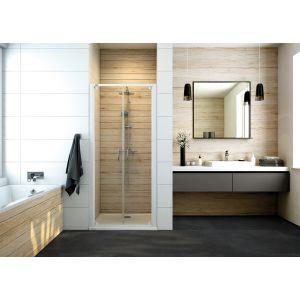 Drzwi prysznicowe dwuskrzydłowe Basic ze szkłem transparentnym W0