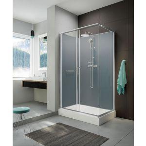 Wersja kabiny prysznicowej w kolorze srebrnym błyszczącym z tylnymi ścianami w kolorze srebrnym