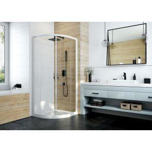Kabina prysznicowa półokrągła z drzwiami przesuwnymi ze szkłem transparentnym W0