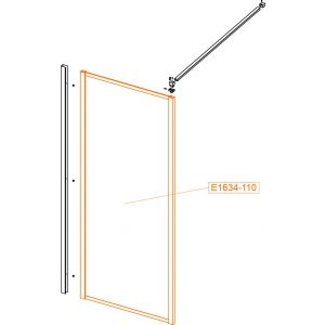 Fixed straight element - safety glass sheet