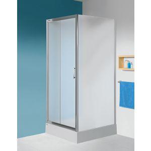 Kabina narożna na bazie drzwi przesuwnych i ścianki bocznej w kolorze srebrnym błyszczącym i z wypełnieniem CR Cora