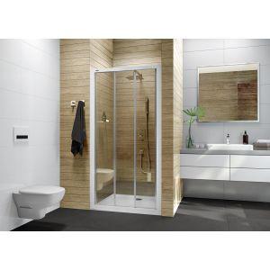 Drzwi prysznicowe przesuwne trójelementowe ze szkłem transparentnym W0