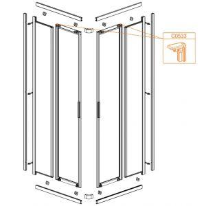 Zaślepka-tylna, profili pionowych drzwi