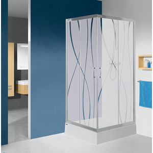 Wersja kabiny prysznicowej w kolorze srebrnym błyszczącym z sitodrukiem W15