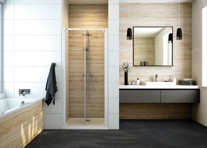 Basic double-wing shower door with W0 glass sheet