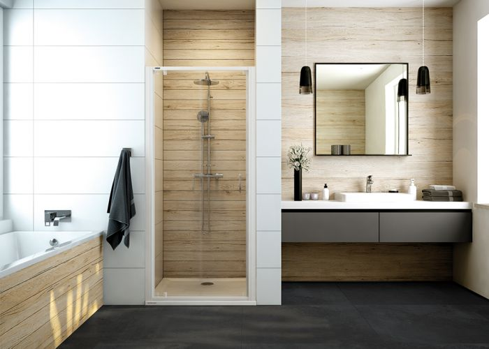 Wing shower door with W0 glass sheet