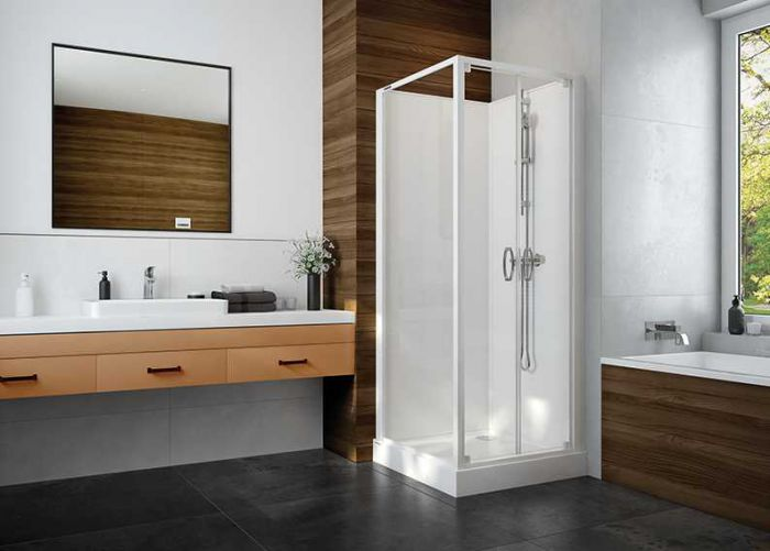 Four-wall complete shower enclosure set- square version with double-wing doors and W0 glass sheet