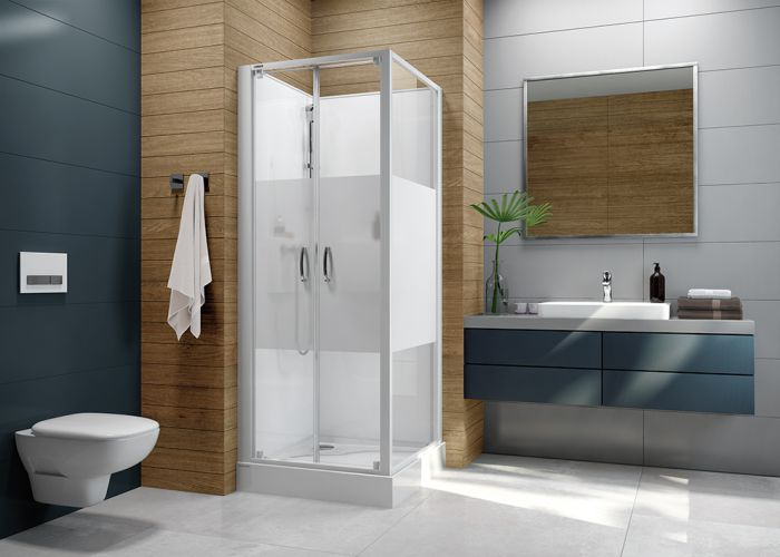 Four-wall complete shower enclosure set- square version with double wing doors and W18 printscreen