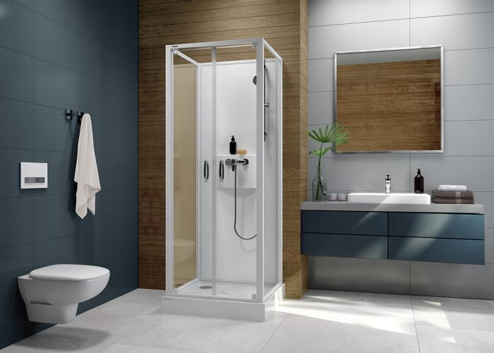 Four-wall complete wall-type shower enclosure set- square version with double-wing doors and W0 glass sheet