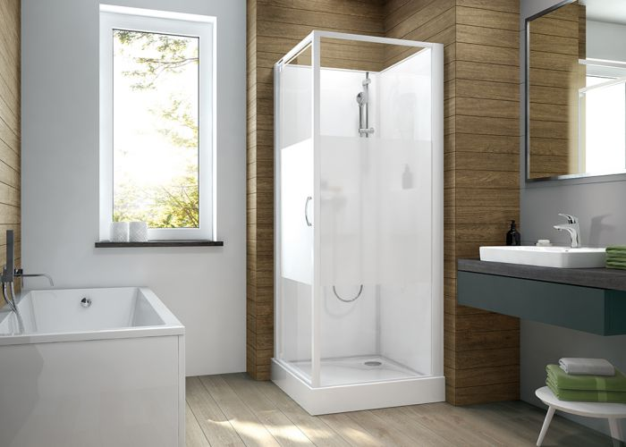 Four-wall complete  shower enclosure set- square version with wing door and W18 printscreen