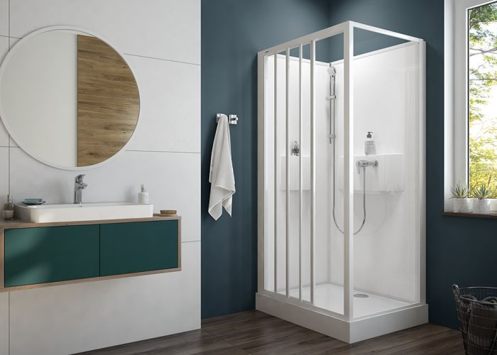 Four-wall complete shower enclosure set- rectangular version with 3-elements sliding doors and W0 glass sheet