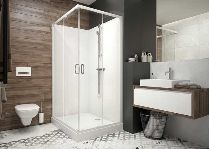 Four-wall complete shower enclosure set- square version with sliding doors and W0 glass sheet