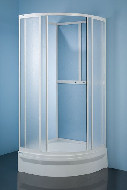 Shower enclosure - version:  white colour and polystyrene pattern