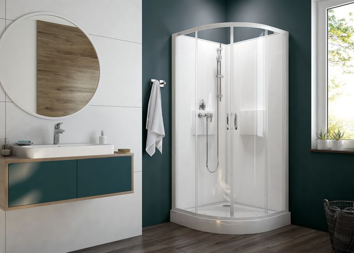 Four-wall complete wall-type shower enclosure set- quadrant version