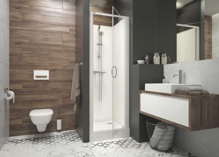 Four-wall complete shower enclosure set- square version with wing doors and W0 glass sheet - nishe installation