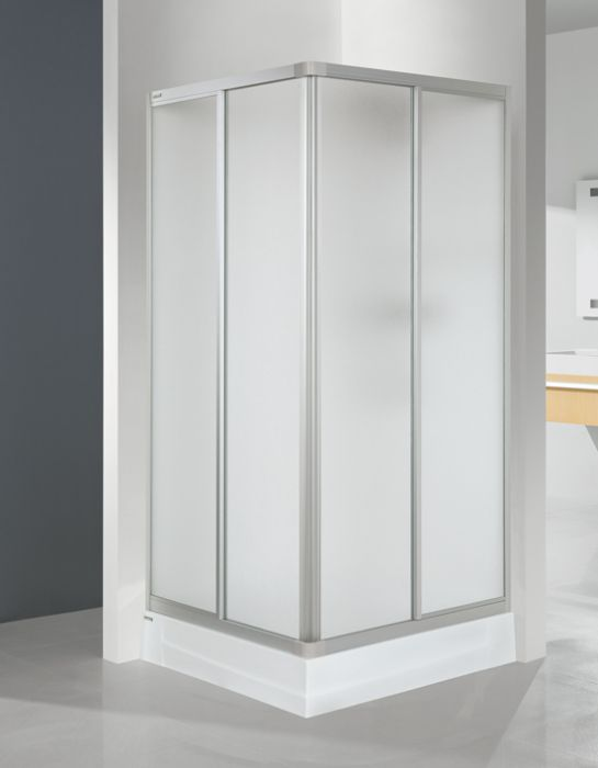 Wersja kabiny prysznicowej w kolorze srebrnym matowym z wypełnieniem Cora