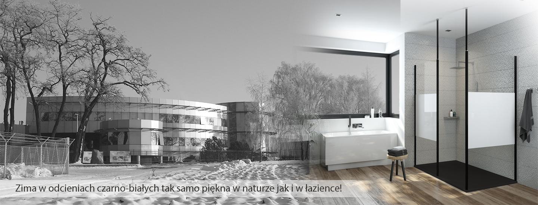 Zima w odcieniach czarno-białych tak samo piękna w naturze, jak i w łazience!