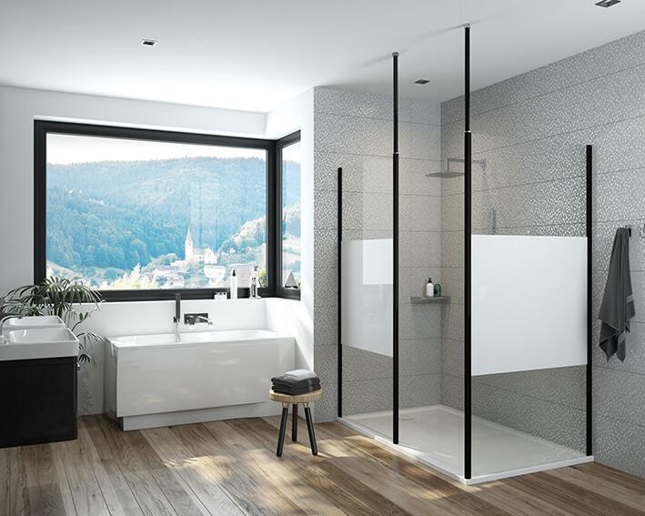 Łazienkowy musthave: czarne elementy w kabinach prysznicowych