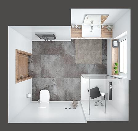 Skandynawski styl w połączeniu z brązowymi detalami - pomysł na średnią łazienkę