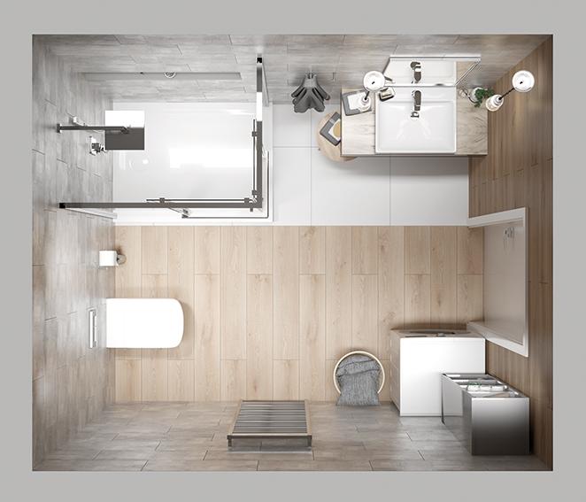 Wnętrze z kabiną prostokątną
